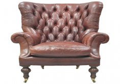 exceptional tufted leather wingback chair   Oversized Lillian August Brown Tufted Leather English Chesterfield Wing  Chair 1