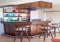 nice hanging bar cabinets for home   Mini Bar For Home With Hanging Wine Glass Rack And Open Shelving .